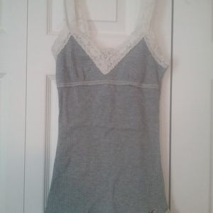 Gray Tank with Lace Straps
